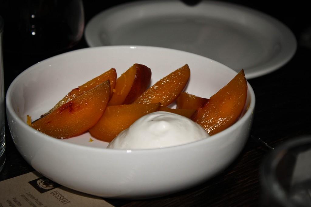 Peaches - vinegar caramel, yogurt espuma