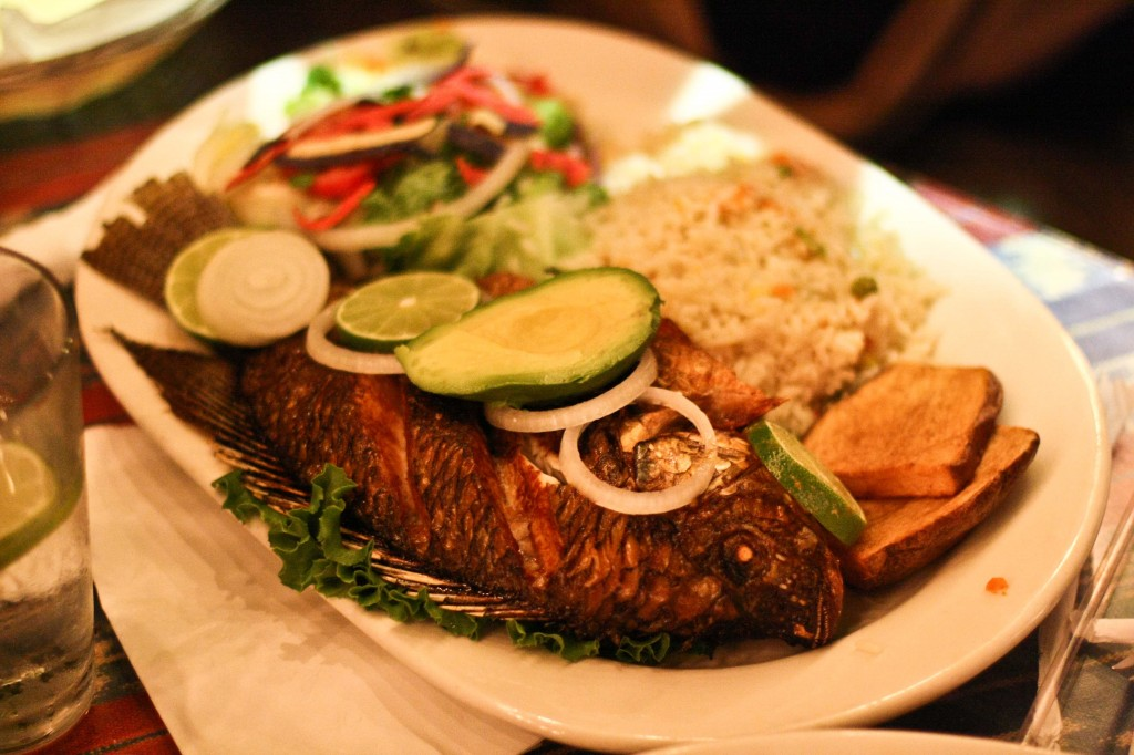 MOJARRA FRITA A whole tilapia marinated in lemon juice, and then fried to perfection