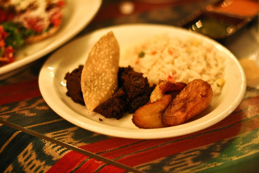Refried Black Beans, Rice and Plantains