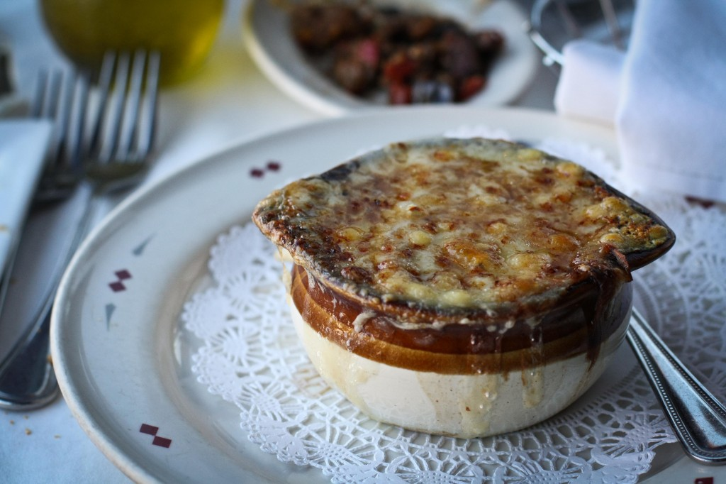 ONION SOUP GRATINEE with Gruyere cheese  & toast