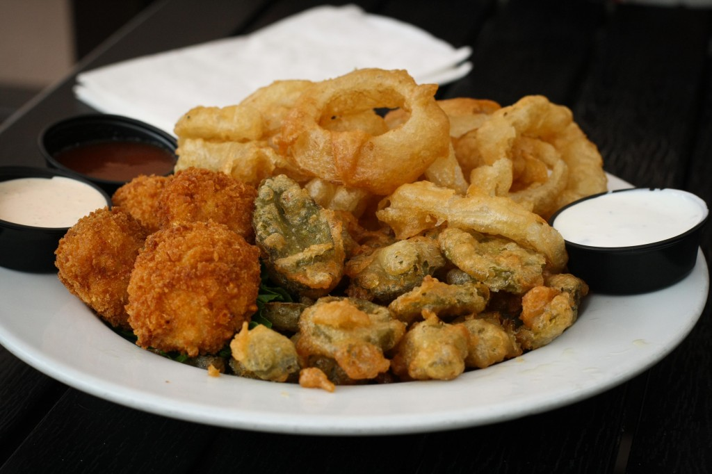 Fried Bacon Mac and Cheese Balls, Beer Battered Jalapeno Slices, Beer Battered Onion Rings