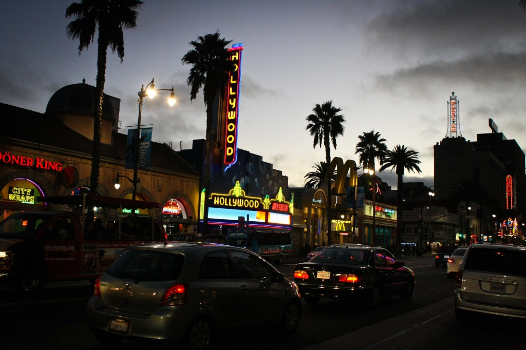 Hollywood Boulevard, the street of dreams. And Pizza. And Tourists. And Crazy people.