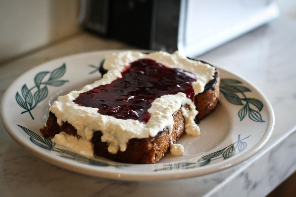 Brioche Toast with Ricotta and Plum Thyme Jam