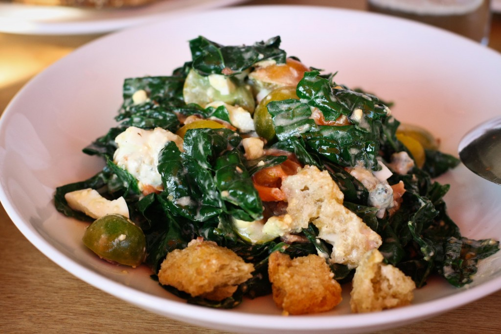 Wilted Kale Salad -    blue cheese, cherry tomatoes, bacon, chopped egg, pugliese croutons, mustard vinaigrette