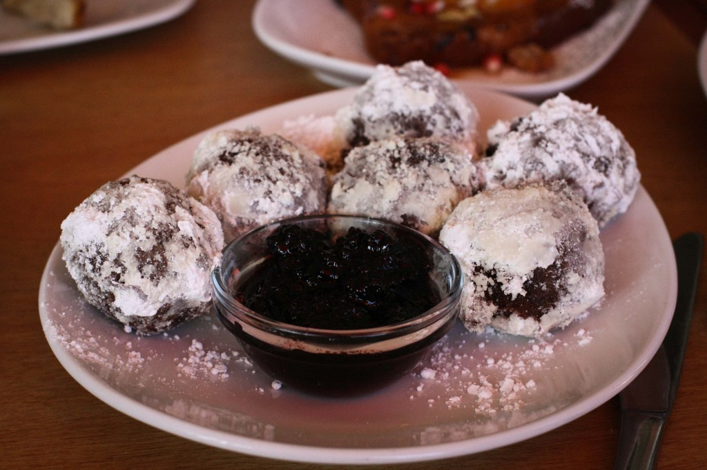 Chocolate Donut Holes w/ Blackberry Sauce