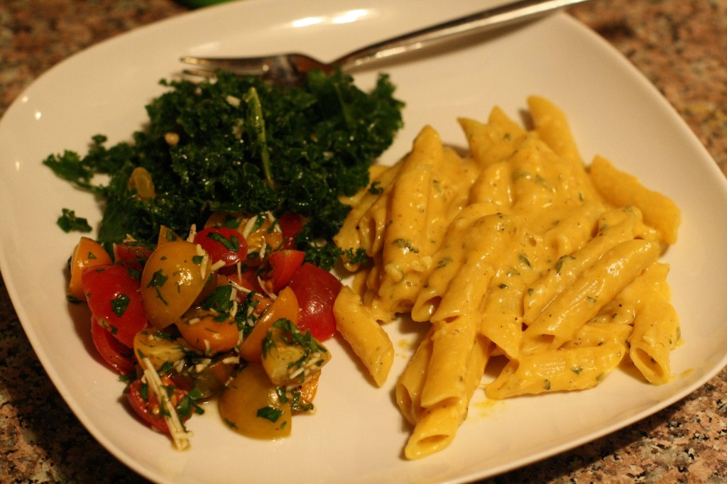 Nancy's Pumpkin Sage Pasta with Heirloom Tomato Salad and Kale