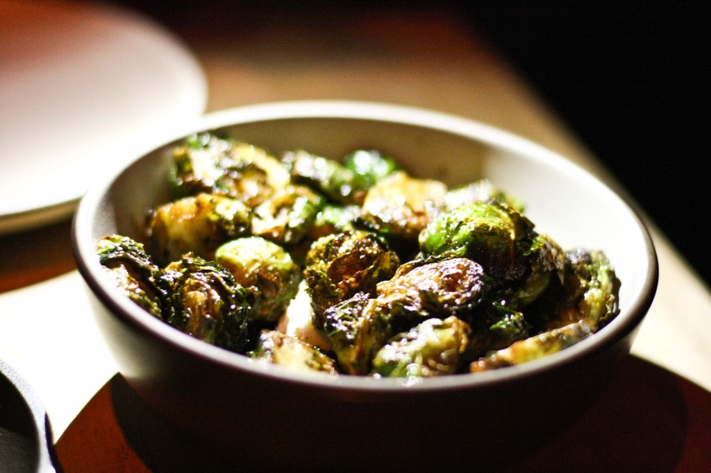 Fried Brussels Sprouts with Goat Cheese