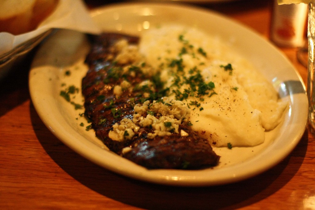 Entraña al Ajo - Steak with Garlic and Parsley and Mashed Potatoes (their signature dish)