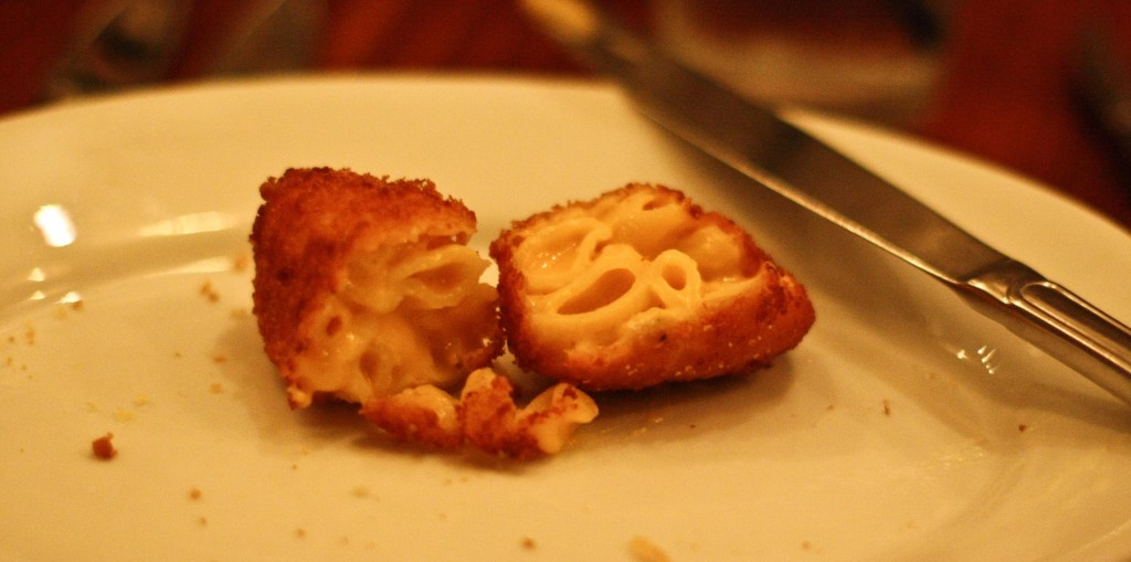 Cross section of the fried mac and cheese