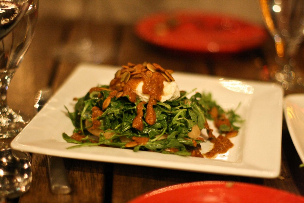 Sope – 9 fried masa on black bean puree topped with arugula, burrata cheese, house made salsa & pepitas