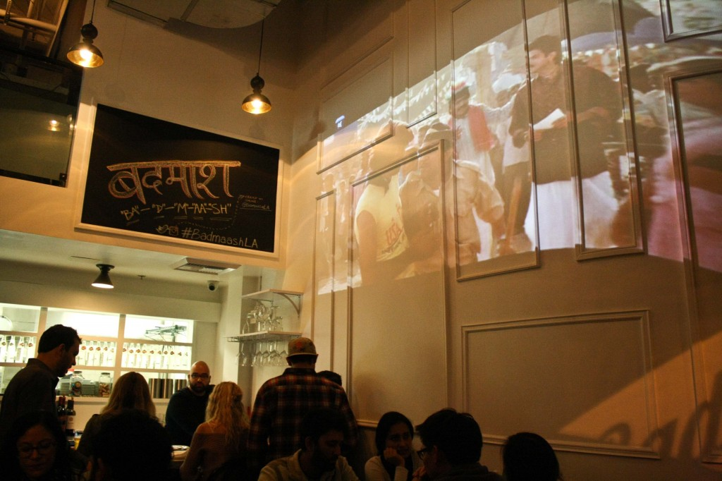 Bollywood Movies are shown on the walls
