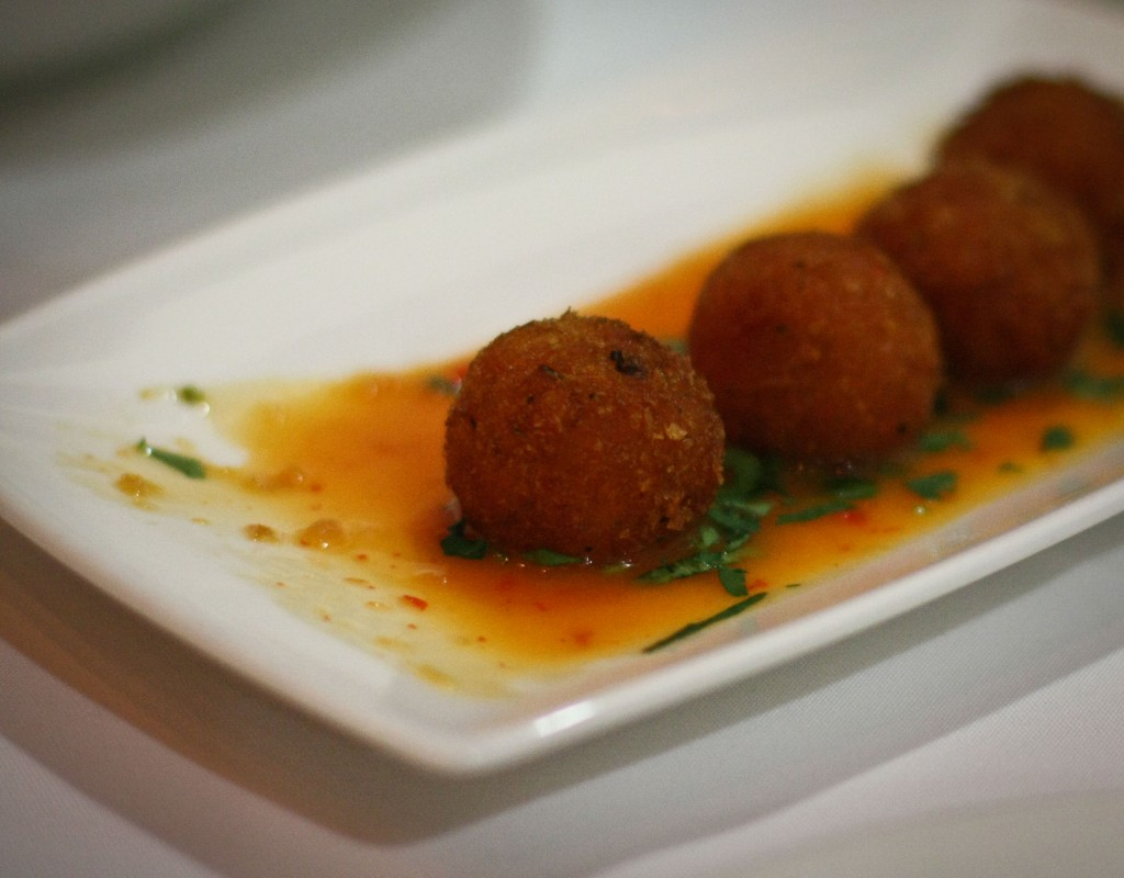 Sweet potato croquettes with chili-coconut sauce
