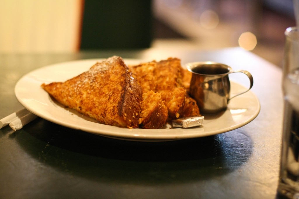 Bearded Mr. Frenchy ...  Thick & fluffy brioche French toast with butter, syrup and powdered sugar.
