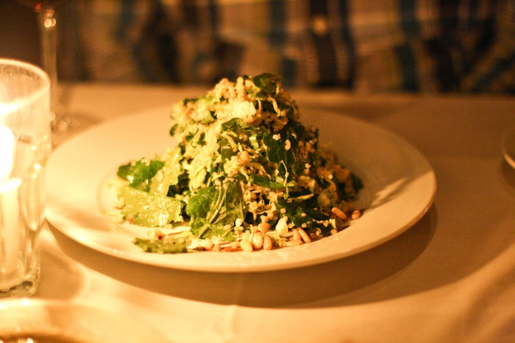 Shaved Brussels Sprouts, Roasted Quinoa & Baby Kale Salad - Aged Balsamic Vinaigrette and Toasted Pine Nuts