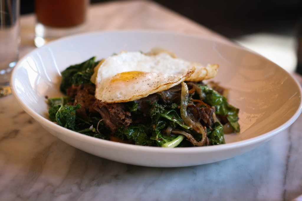 """Bubble and Squeak"" corned brisket, fingerling potato & greens hash, fried egg"