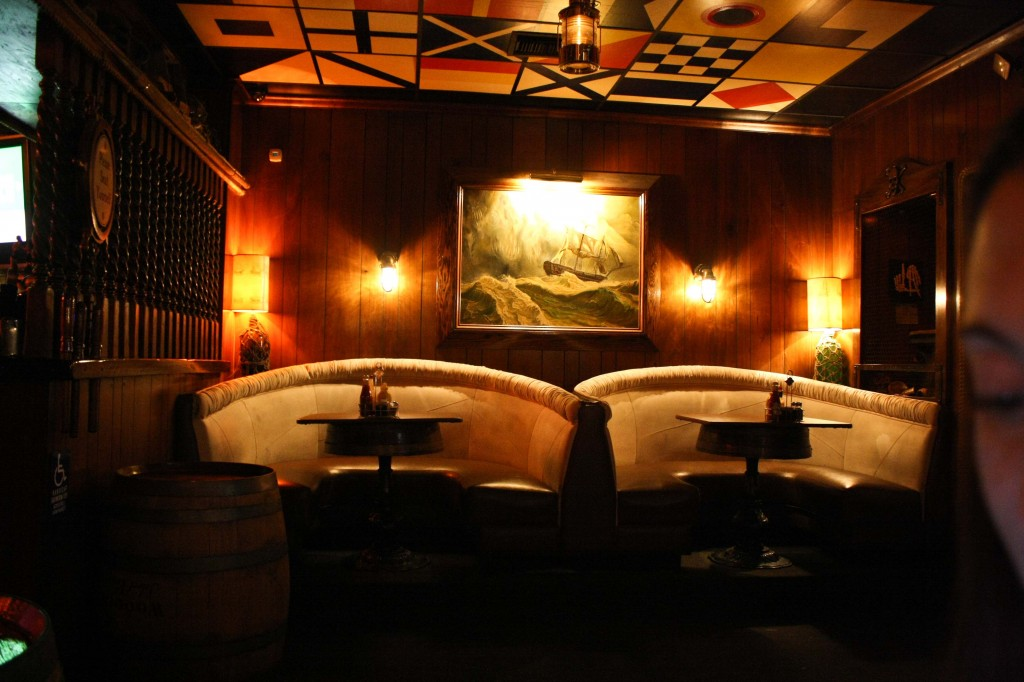 Booths at the pirate themed bar, Redwoods (and Chesty Morgan's eye)