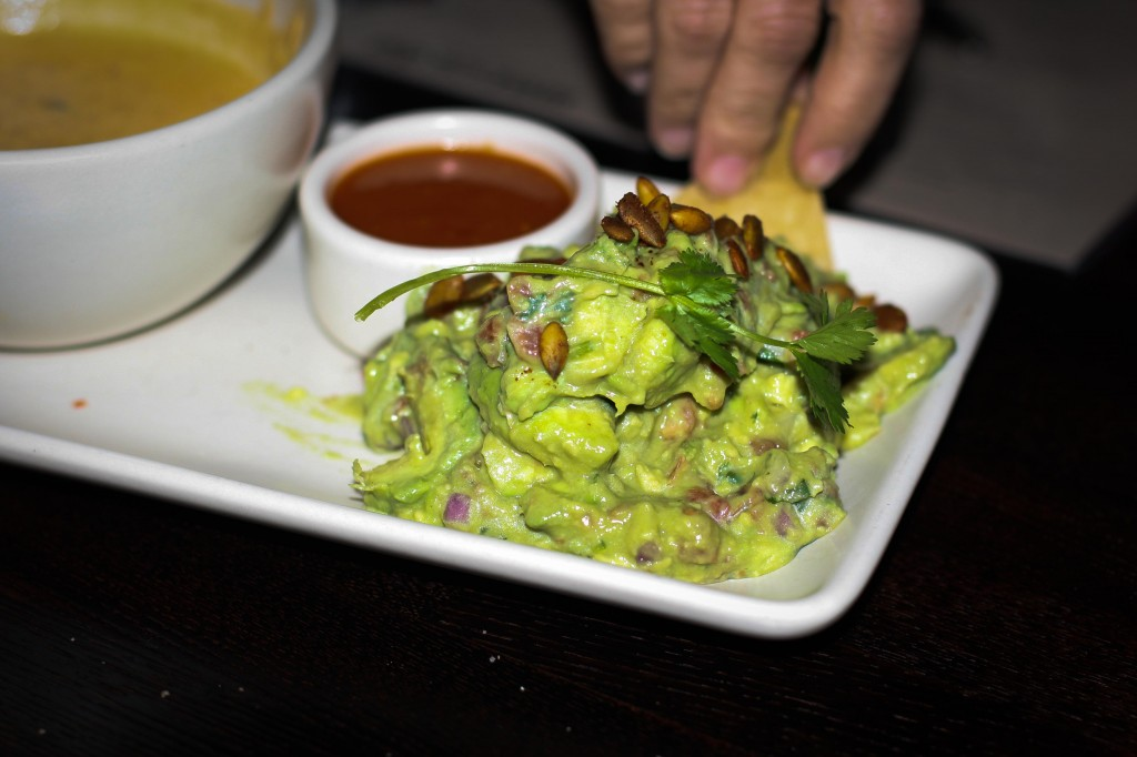 Guacamole – hass avocado, serrano, cilantro, red onion, chile de arbol salsa, spicy pepitas, fresh chips