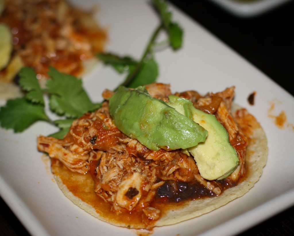 Tacos de Tinga de Pollo – pulled free-range chicken with chipotle, black beans, avocado