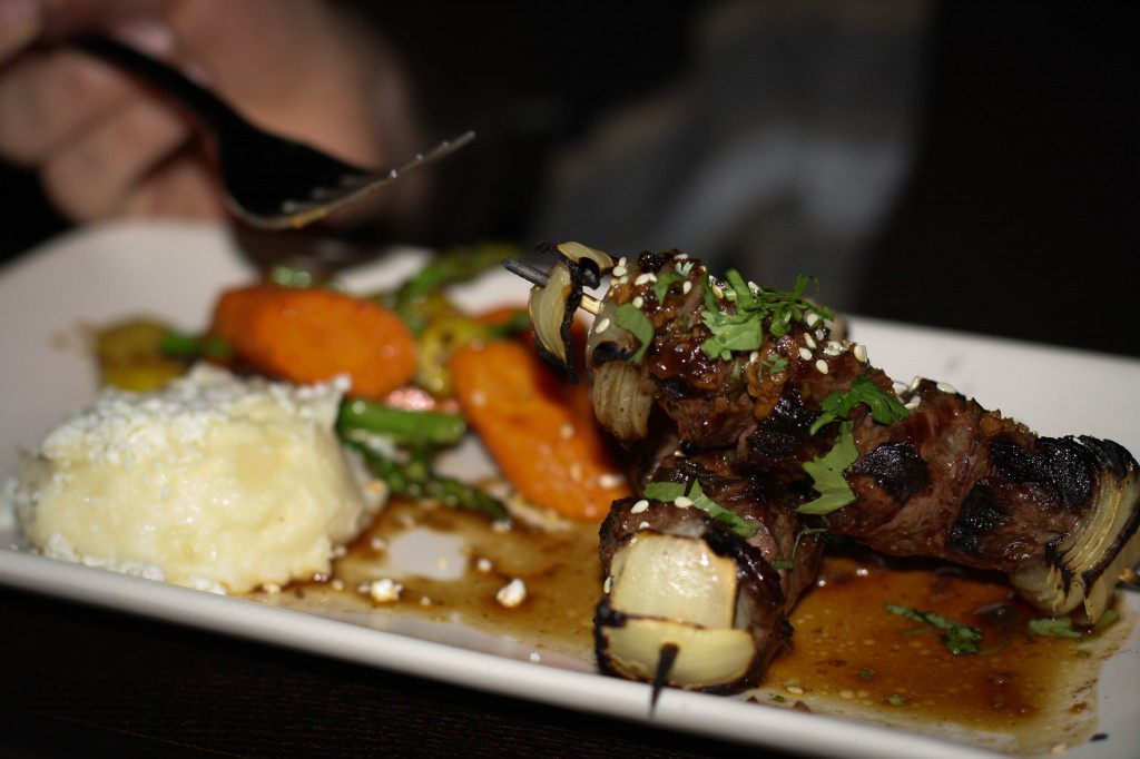 Alambres de Arrachera – grilled prime skirt steak skewers, cilantro ginger-soy glaze, farmers' market vegetables