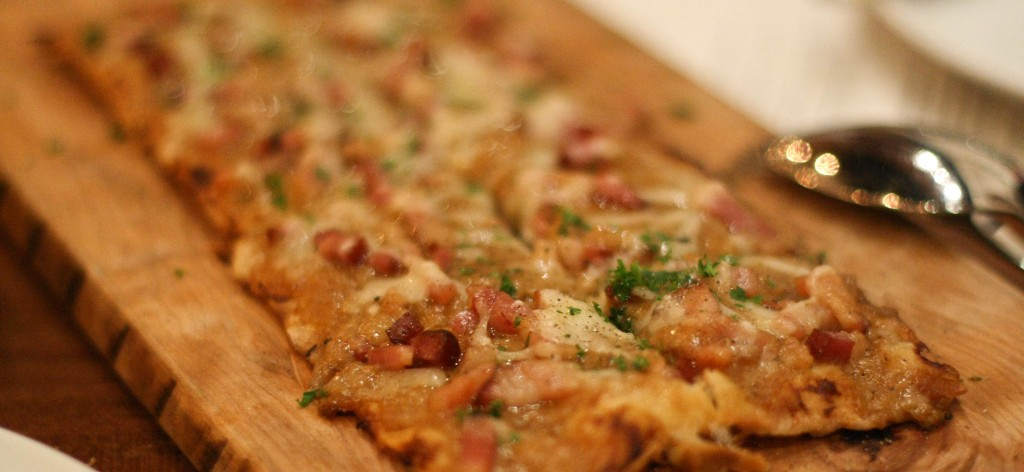 Nueske's Bacon Tartes a L'Asacienne, gruyure, caramelized onion
