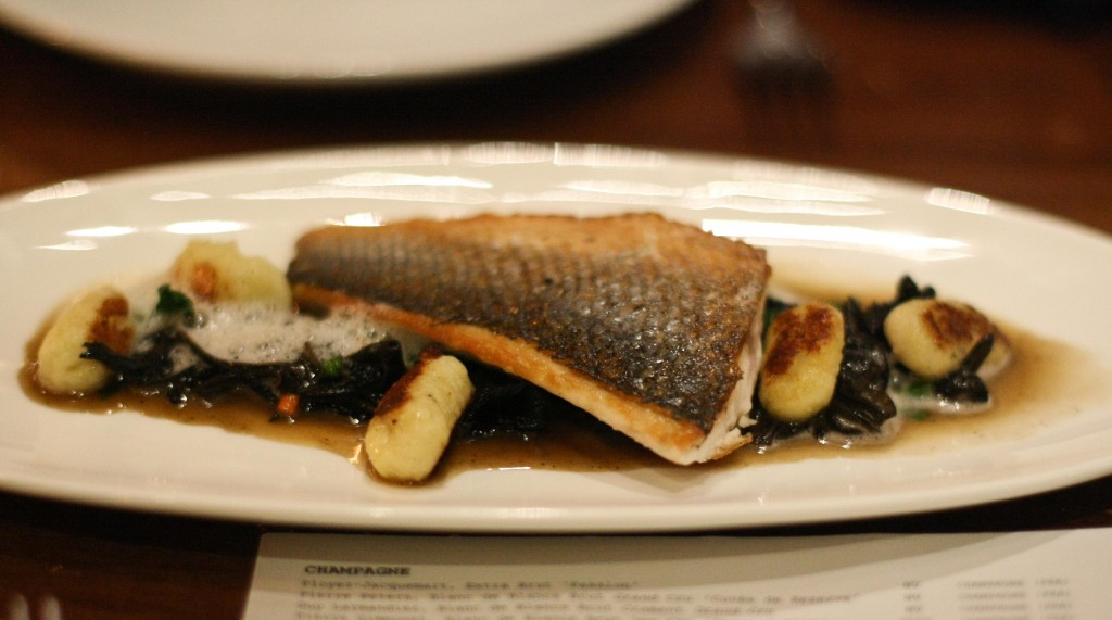 Mediterranean Branzino, black trumpet mushrooms, potato gnocchi, spinach
