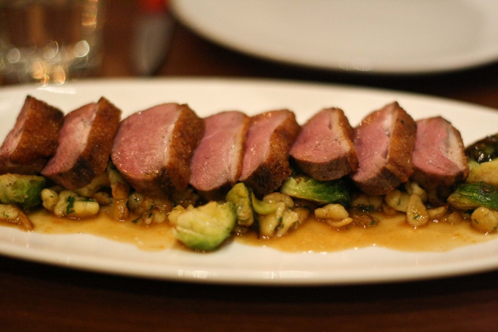 Sonoma Duck Breast with Brussels sprouts, spatzle and orange sauce