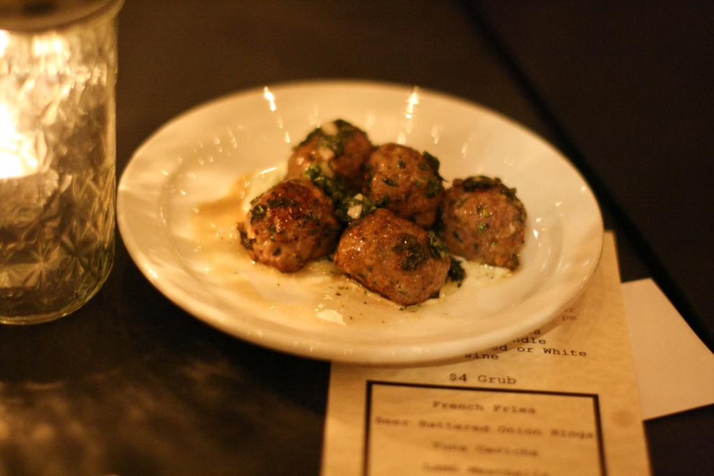 Lamb Meatballs, fresh chimichuri, yogurt sauce