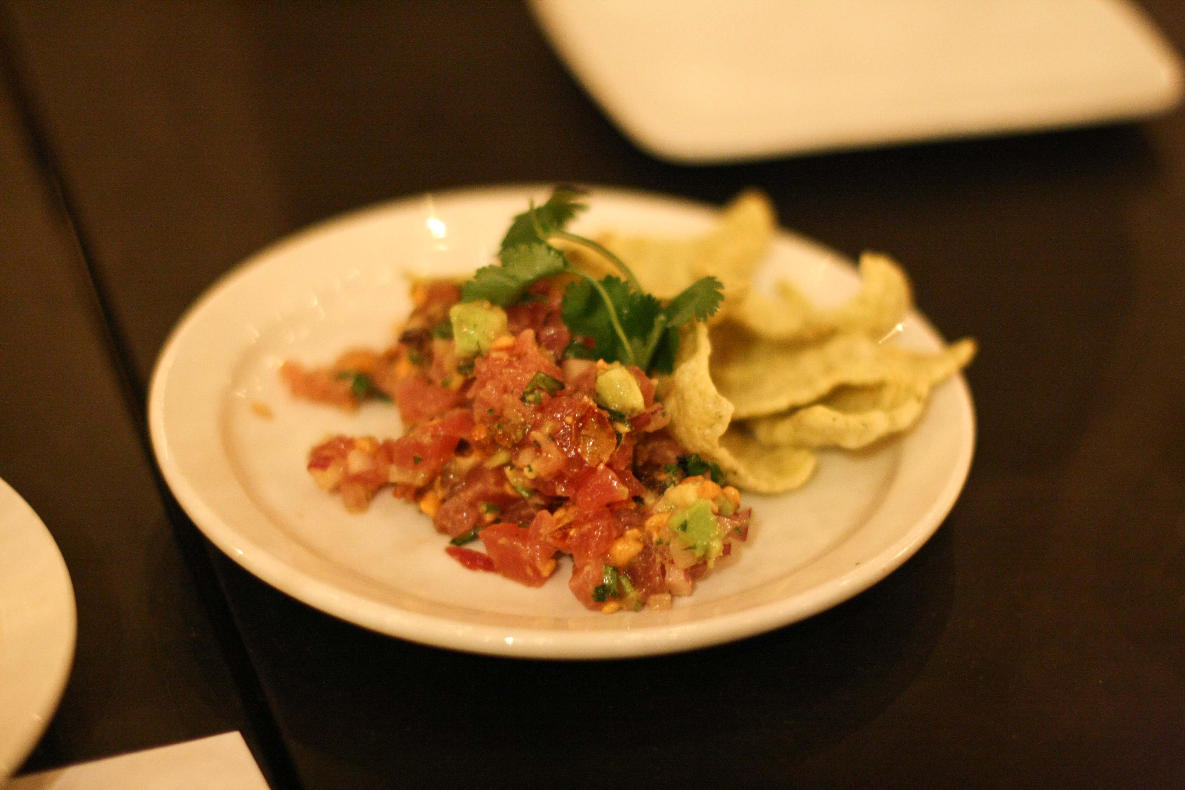 Tuna Ceviche, avocado, tangerine, chipotle, toasted corn