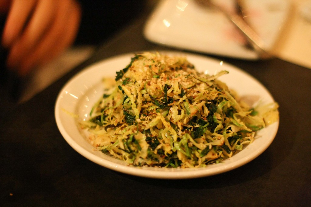 Shaved Kale and Brussels Sprouts Salad, lemon picada