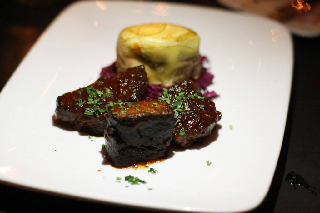 Maple Whisky Glazed Short Ribs, mini shephard's pie, sweet and sour cabbage