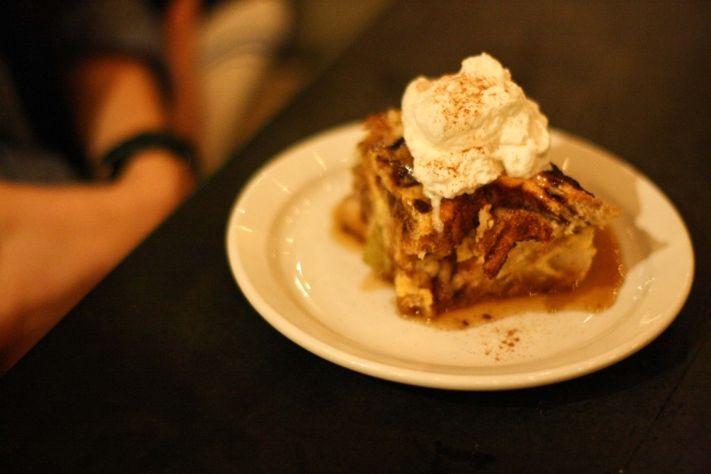 Cinnamon Roll Bread Pudding, moonshine and brown sugar syrup
