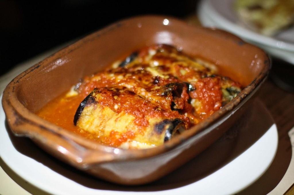Involtino di Melanzana e Mortadella -  Eggplant, Mortadella & Mozzarella Rolls in Tomato Sauce