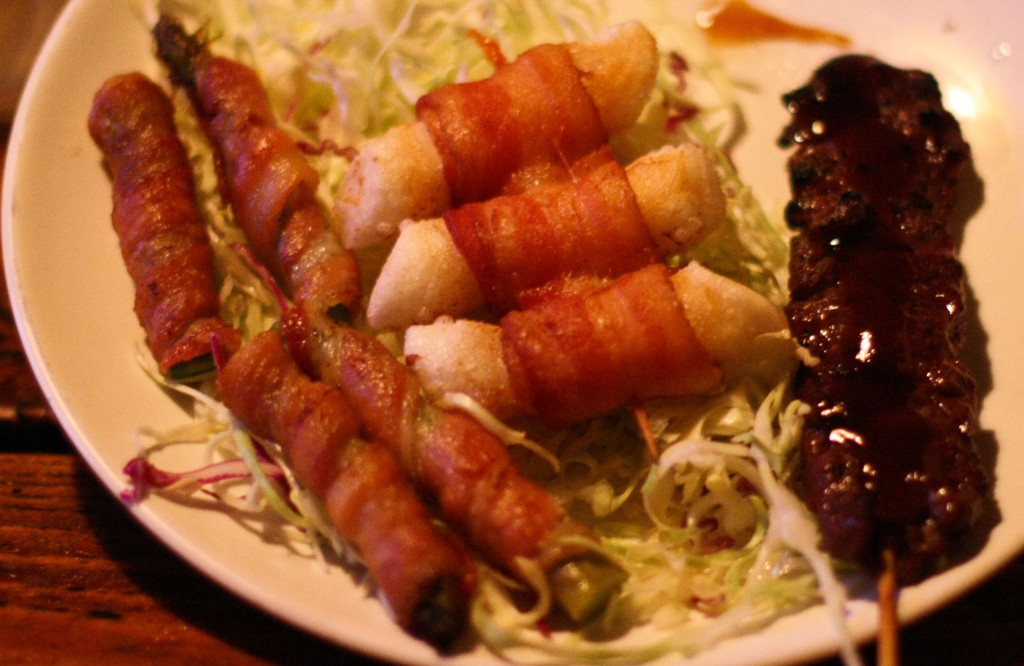 Bacon Wrapped Asparagus, Bacon Wrapped Rice Cake and BBQ Rib Skewers