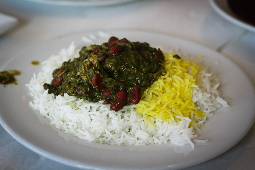 Ghormeh Sabzi - Sautéed Vegetables cooked with dried limes, beef, red kidney beans and special seasonings, served with basmati rice