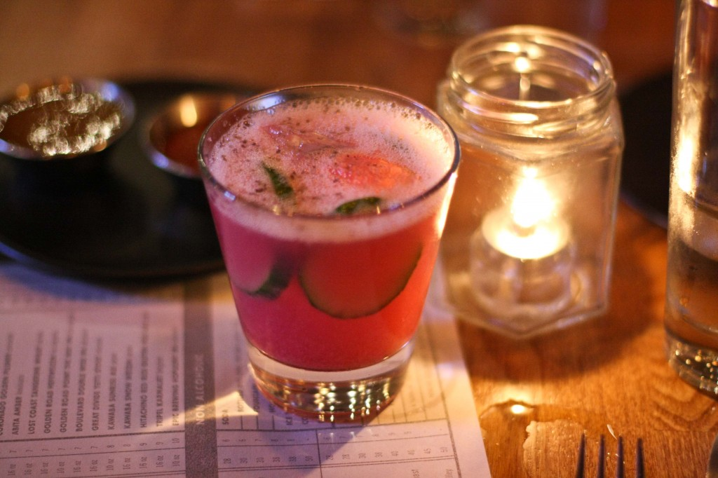 BREEDERS CUP $12.00  tito's vodka, lime, agave syrup, cucumber, applewood smoked salt, beet horseradish