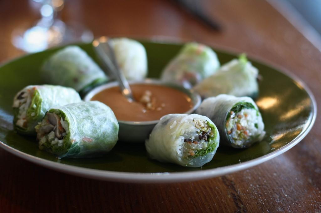vegetarian spring rolls -, tofu, shiitake, cabbage, mint, peanut sauce