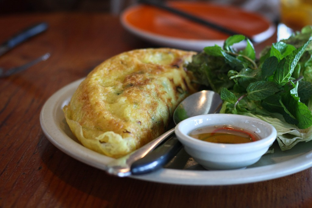 vietnamese crêpe - , gulf shrimp, pork shoulder, bean sprout, yellow onion