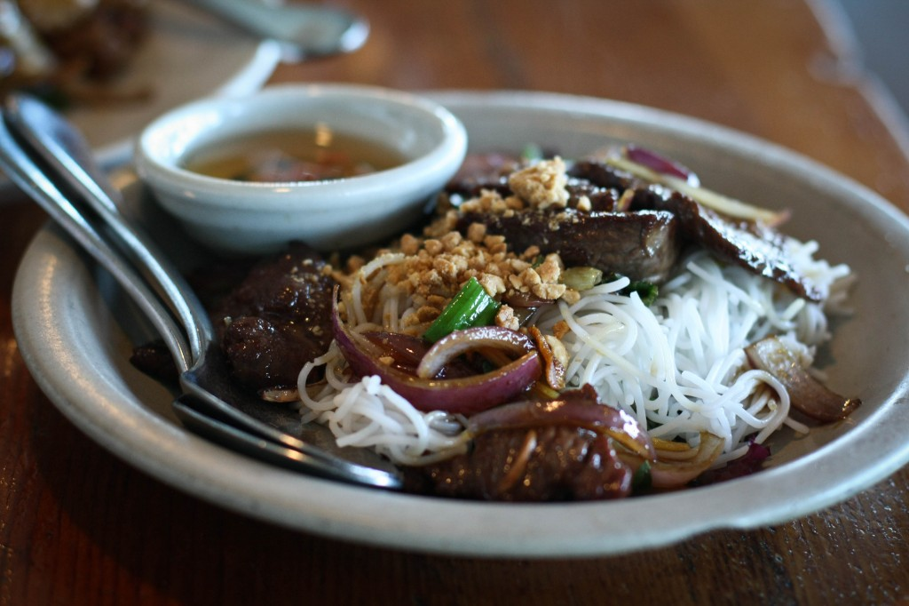 gingered beef sirloin -, rice vermicelli noodle, field greens, roasted peanuts