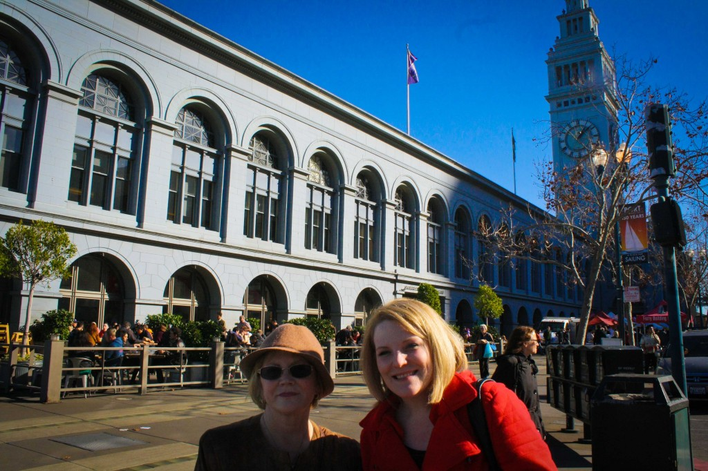 Mom and Sis in front of the Ferry Building