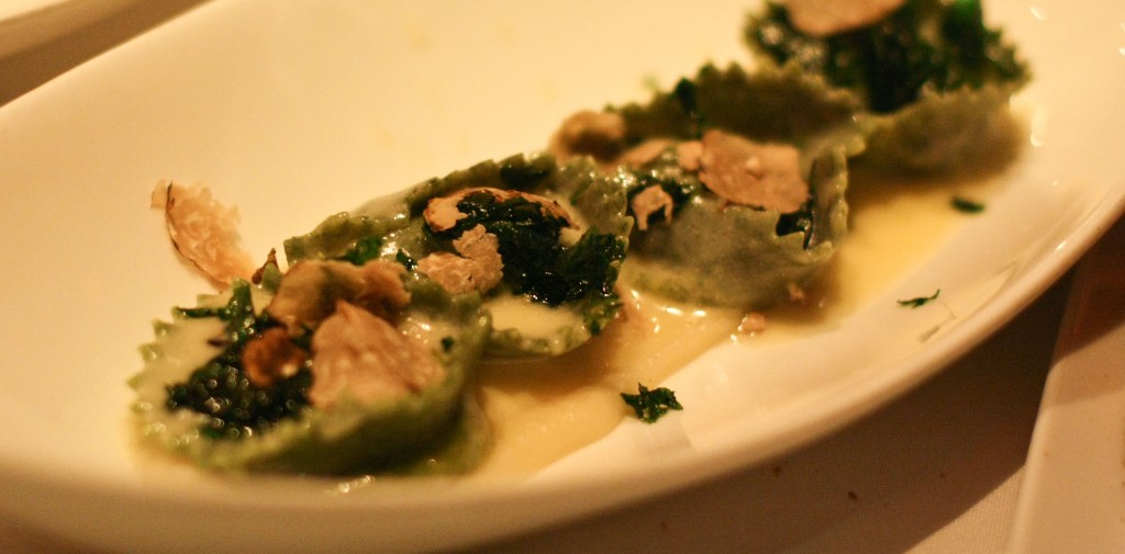 NETTLE RAVIOLI DI FIORE  Wagon Wheel & Teleme Cheese Fonduta  Celery Root & Oregon White Truffle  Olio Verde 18.