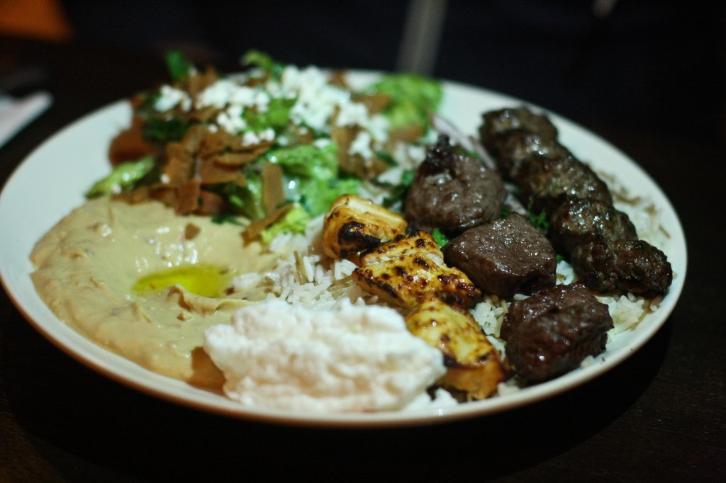 OPEN SESAME COMBO 18 Charbroiled skewers of kafta, chicken tawook and beef kabob. Served over basmati rice