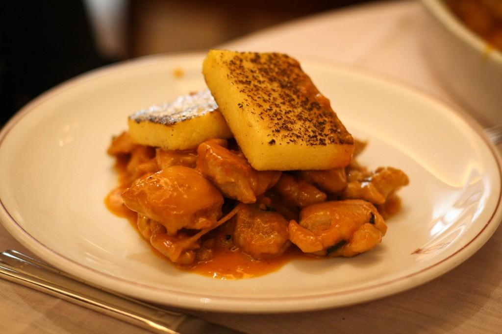 Chicken Spezzatino Capperi Pomodori with Roasted Polenta