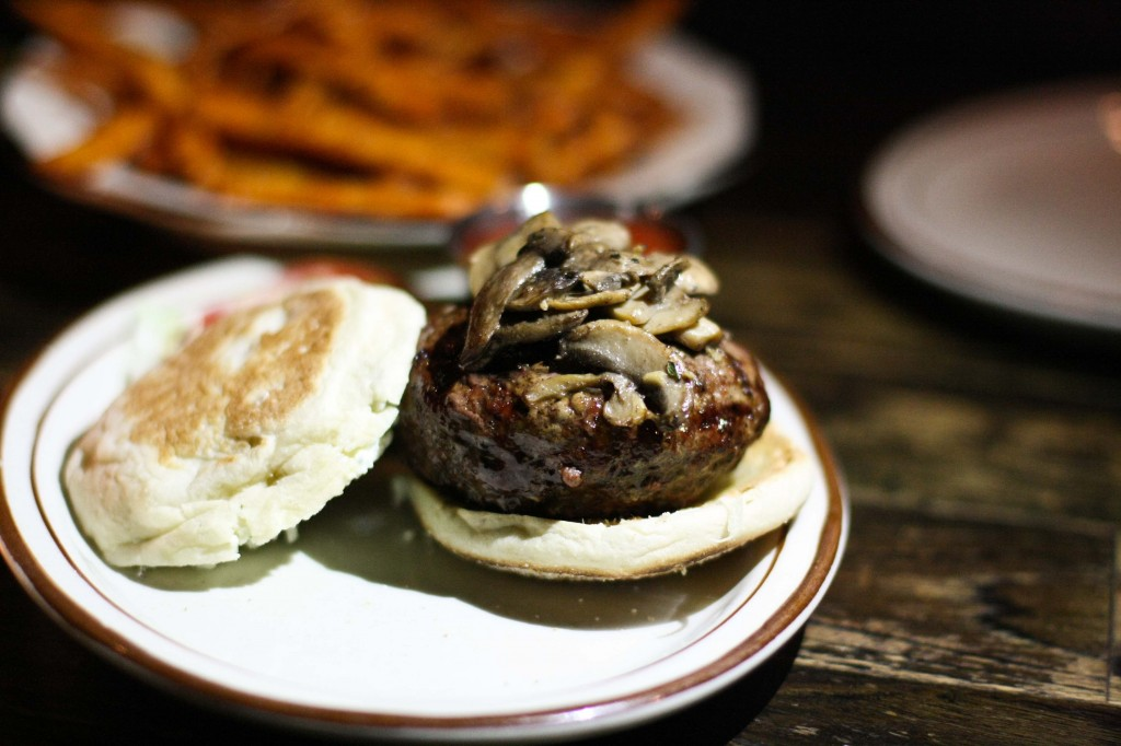 Bowery Burger w/ Sautéed Mushrooms and Herbed Goat Cheese