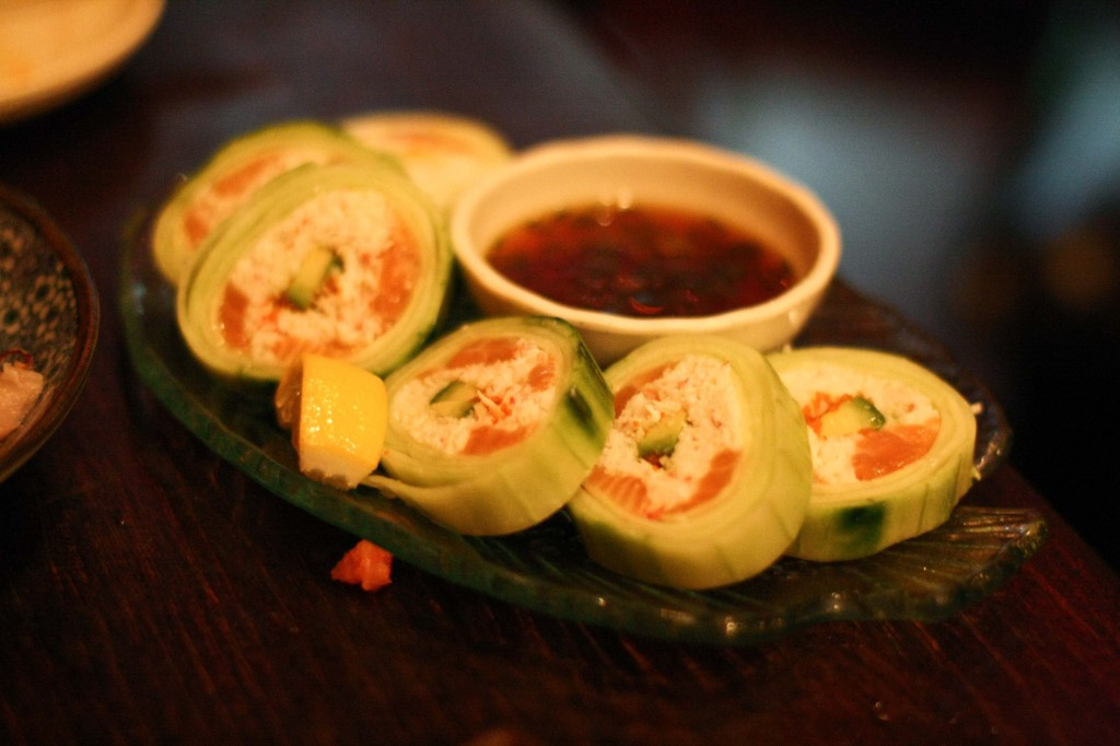 AJISAI ROLL – 15.50 Salmon, crab & avocado wrapped in cucumber