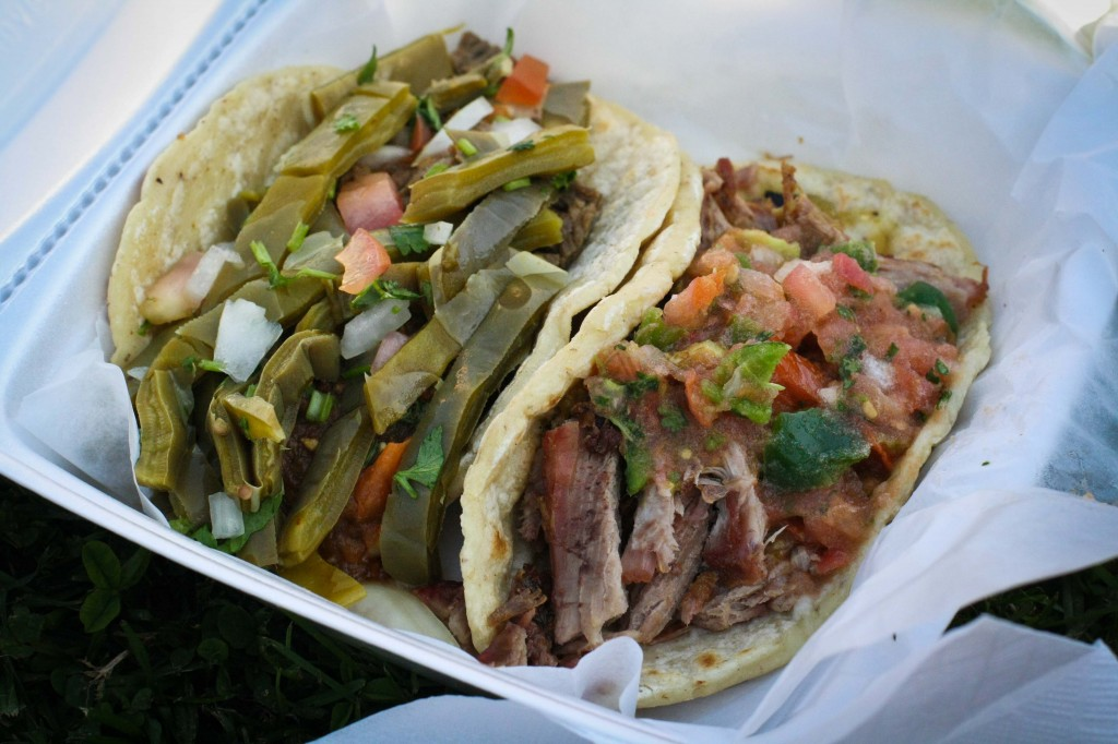 Asada taco with Nopales (cactus) and Carnitas Taco