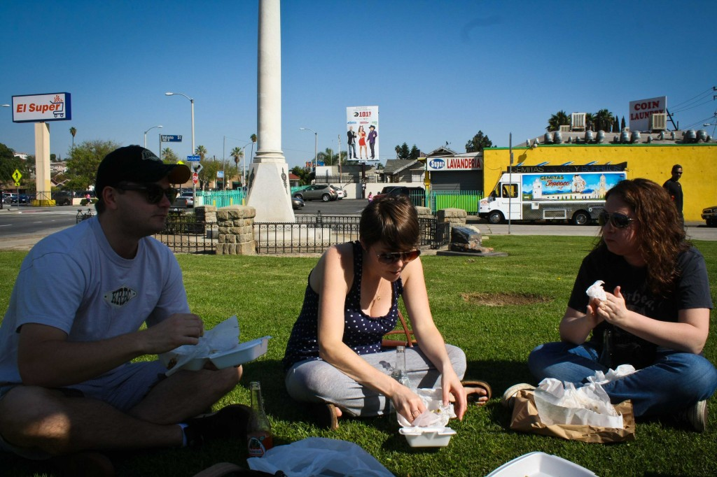 """Enjoying our tacos in the public """"park"""""""