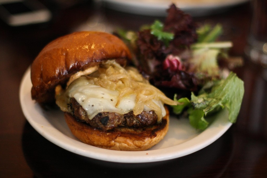 Barbrix Burger with grilled onions and gruyere