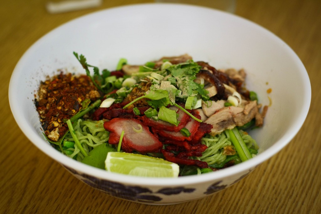 Jade Noodles with BBQ Pork, Duck and Crab