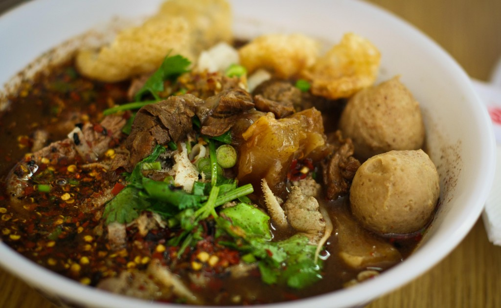 Boat Noodles with Beef, Tripe, Liver and Meatballs