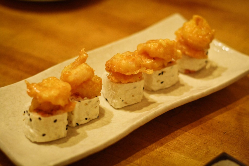 Popcorn Shrimp Tempura on Spicy Tuna Roll